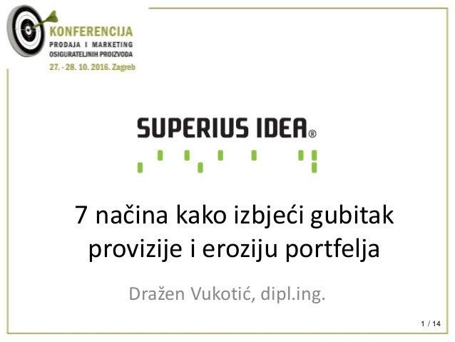 / 141 7 načina kako izbjeći gubitak provizije i eroziju portfelja Dražen Vukotić, dipl.ing.