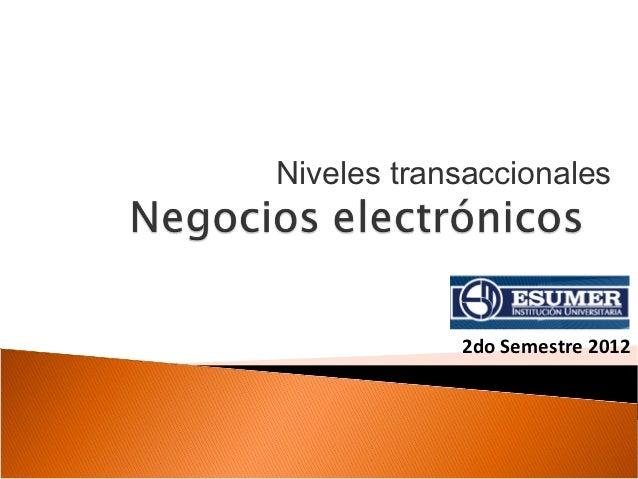 Niveles transaccionales            2do Semestre 2012