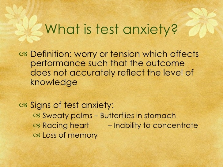 Test taking anxiety definition essay