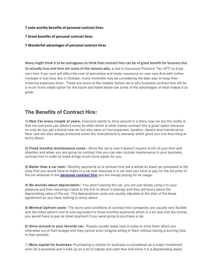 7 Noteworthly Benefits Of Personal Contract Hires