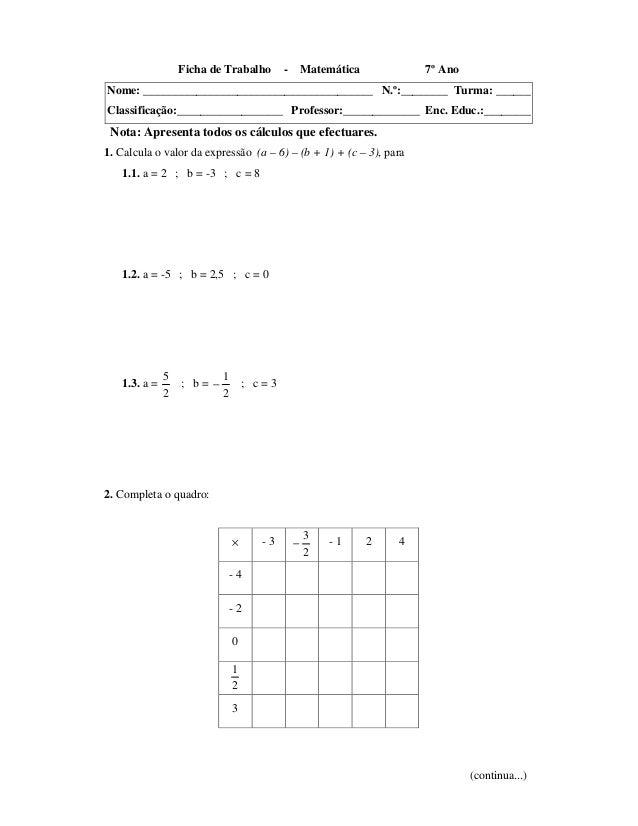 Ficha de Trabalho - Matemática 7º AnoNome: _______________________________________ N.º:________ Turma: ______Classificação...