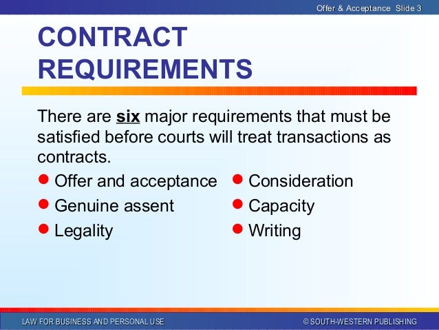 Contract Law Offer And Acceptance