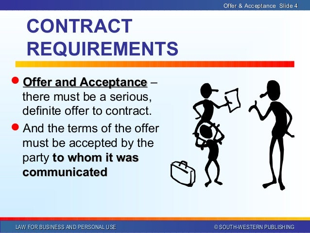 essay contract law offer and acceptance Contracts outline i what is a contract a definition-a promise or a set of promises for breach of which the law only manner of acceptance 2 offer to the public.