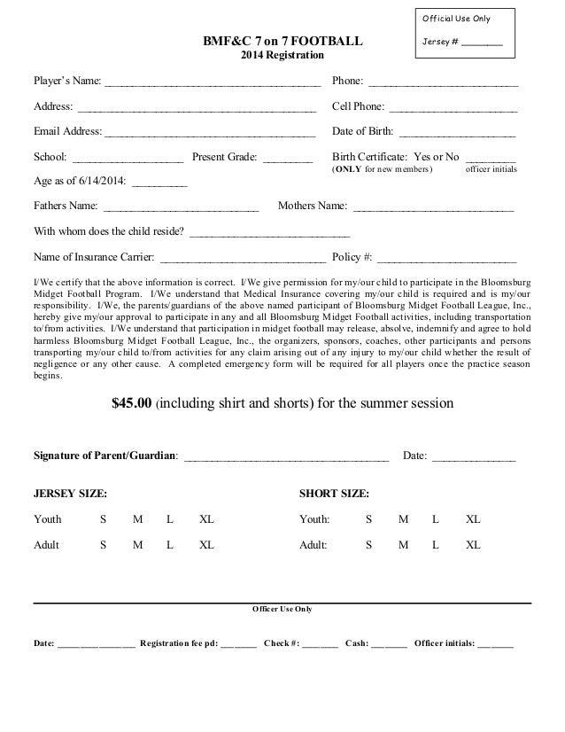 7 on 7 registration form 2014