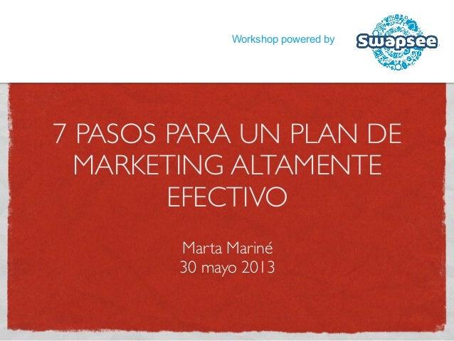 7 PASOS PARA UN PLAN DEMARKETING ALTAMENTEEFECTIVOMarta Mariné30 mayo 2013Workshop powered by