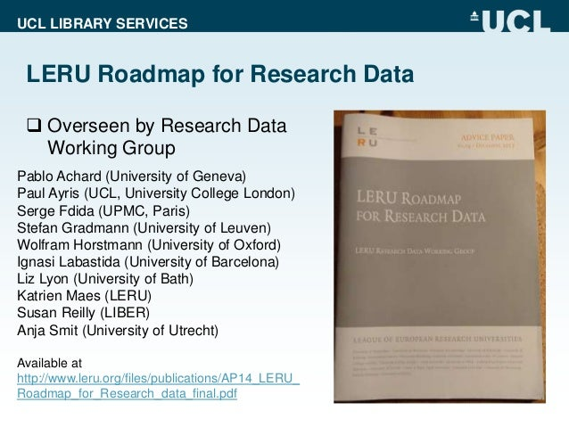 paul ayris the brave new world implementing the leru roadmap for re  paul ayris the brave new world implementing the leru roadmap for research data