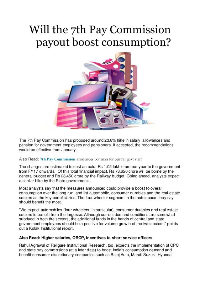 Will The 7th Pay Commission Payout Boost Consumption