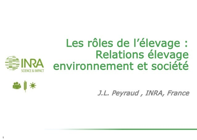 Les rôles de l'élevage : Relations élevage environnement et société J.L. Peyraud , INRA, France 1