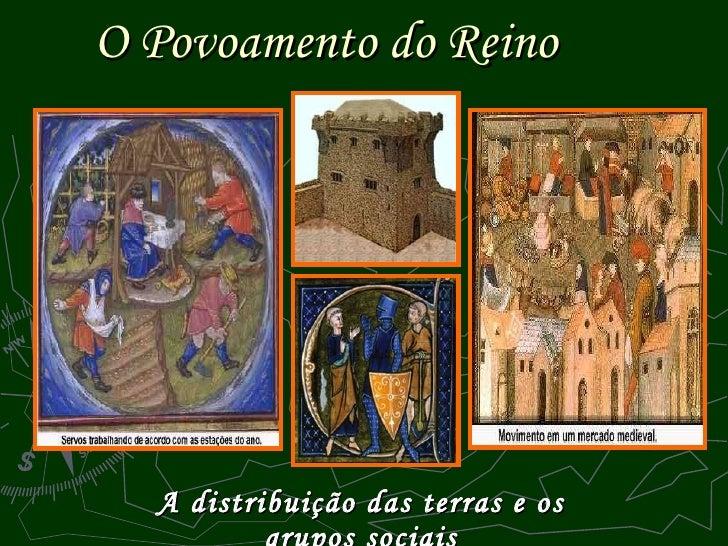 O Povoamento do Reino   A distribuição das terras e os grupos sociais