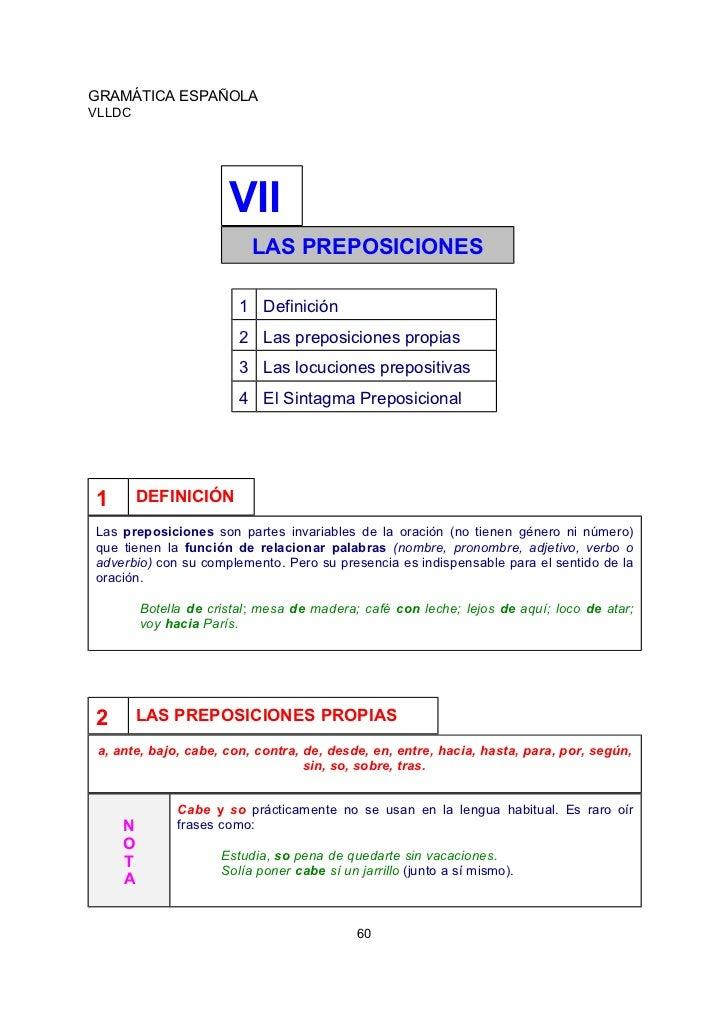 GRAMÁTICA ESPAÑOLAVLLDC                       VII                           LAS PREPOSICIONES                         1 De...