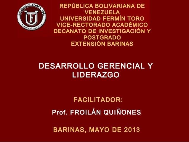 REPÚBLICA BOLIVARIANA DEVENEZUELAUNIVERSIDAD FERMÍN TOROVICE-RECTORADO ACADÉMICODECANATO DE INVESTIGACIÓN YPOSTGRADOEXTENS...