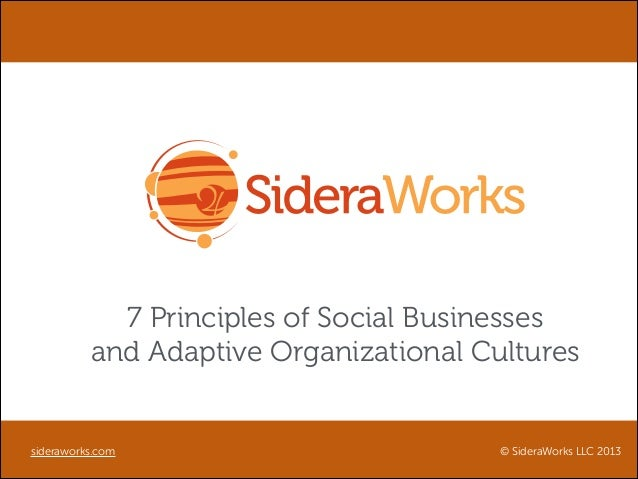 7 Principles of Social Businesses and Adaptive Organizational Cultures  sideraworks.com  © SideraWorks LLC 2013