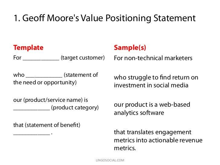 value positioning statement