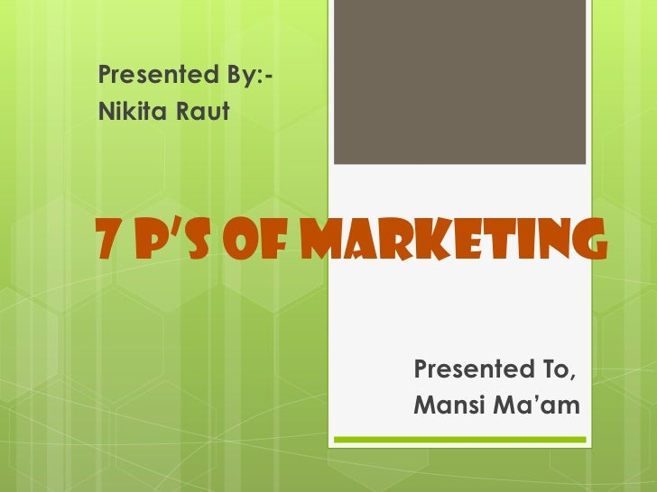 Presented By:-Nikita Raut7 P's of Marketing                 Presented To,                 Mansi Ma'am