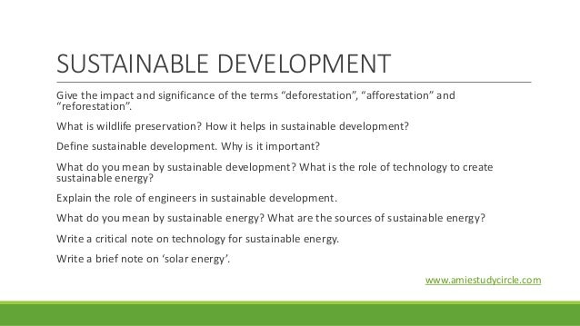 short note on sustainable development
