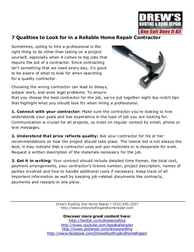 7 qualities to look for in a reliable home repair contractor. Drew's  Roofing And Home