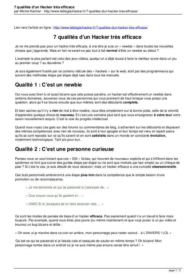 7 qualités d'un Hacker très efficace par Michel Kartner - http://www.leblogduhacker.fr/7-qualites-dun-hacker-tres-efficace...