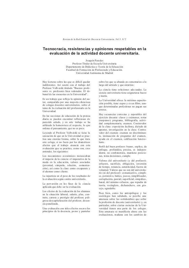 Revista de la Red Estatal de Docencia Universitaria. Vol 3. N.º2Tecnocracia, resistencias y opiniones respetables en la   ...