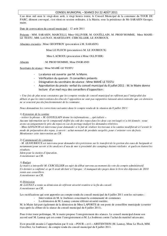 CONSEIL MUNICIPAL – SEANCE DU 22 AOÛT 2011Lan deux mil onze le vingt-deux août, à vingt heures trente, le Conseil Municipa...