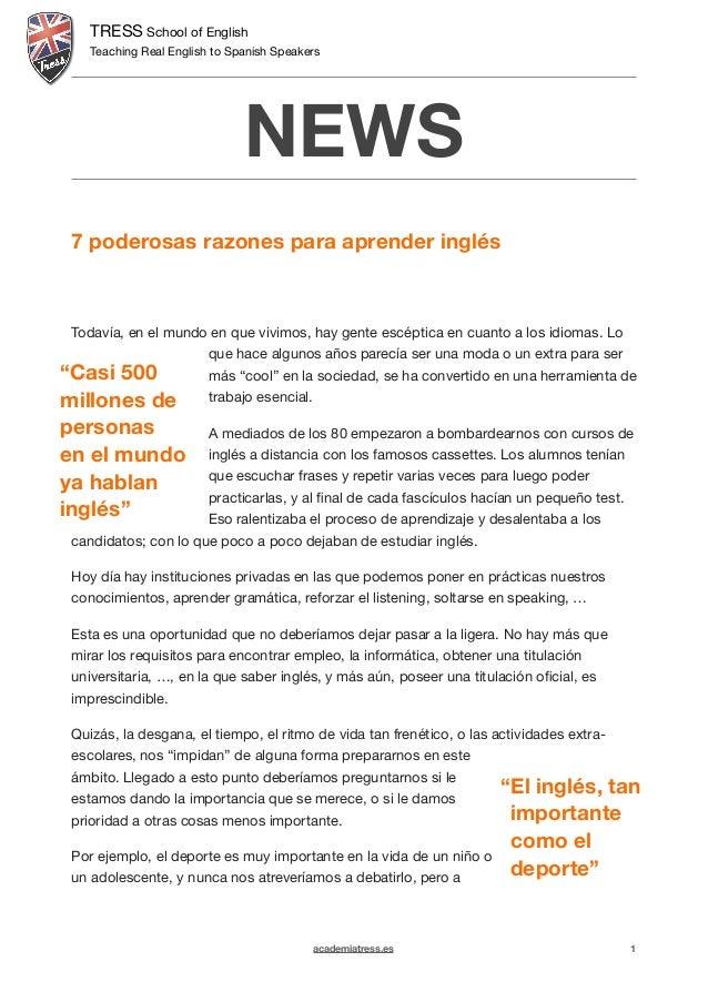 TRESS School of English  Teaching Real English to Spanish Speakers  NEWS  !  7 poderosas razones para aprender inglés !!! ...