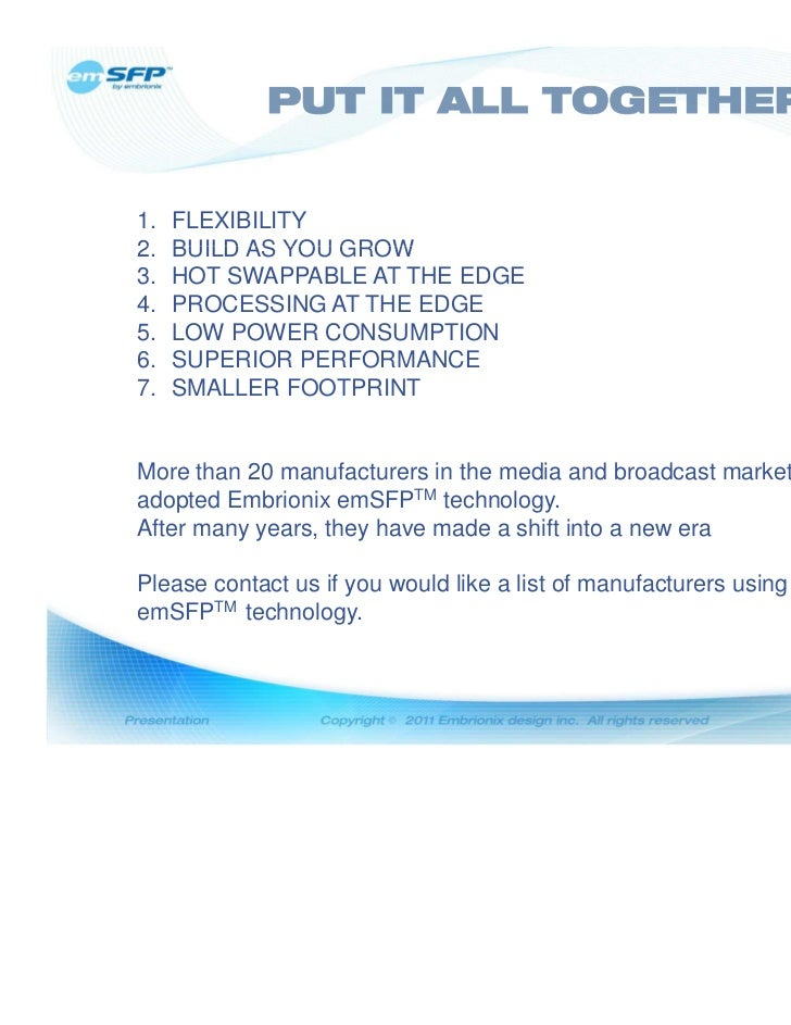 7 Reasons Why  emSFP Should Be In Your New Broadcast/Media Installation