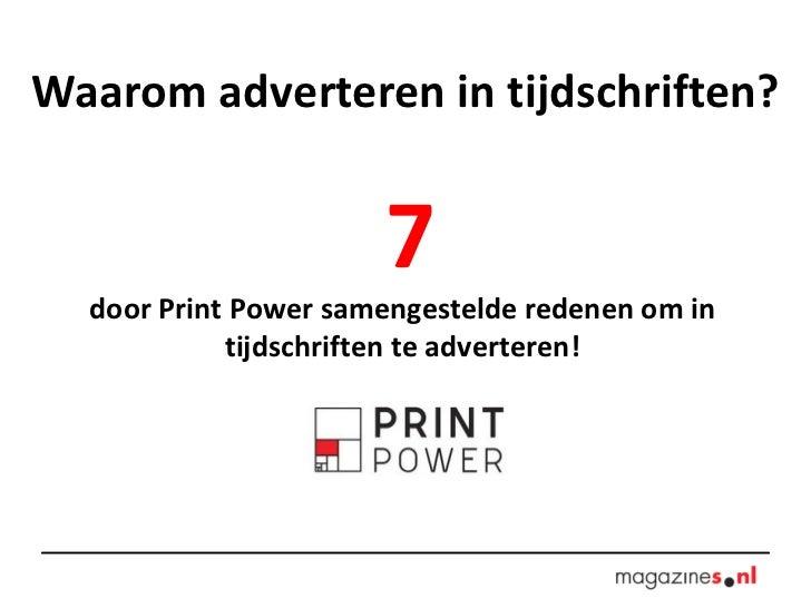 Waarom adverteren in tijdschriften? 7 door Print Power samengestelde redenen om in tijdschriften te adverteren!