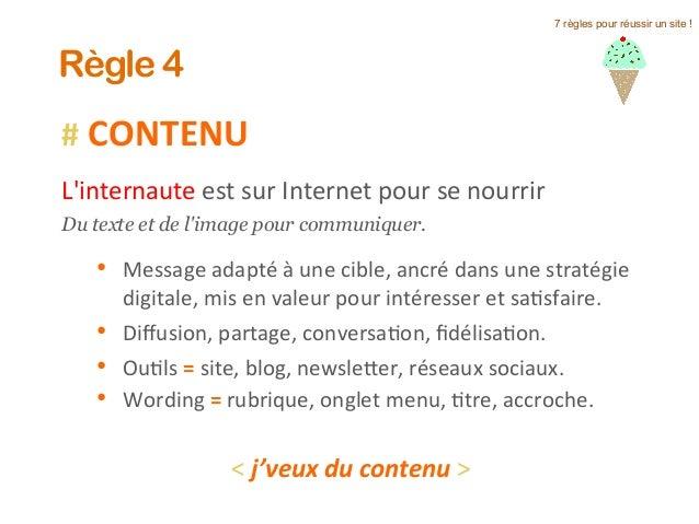 #  CONTENU      L'internaute  est  sur  Internet  pour  se  nourrir     Du texte et de l'image pour ...