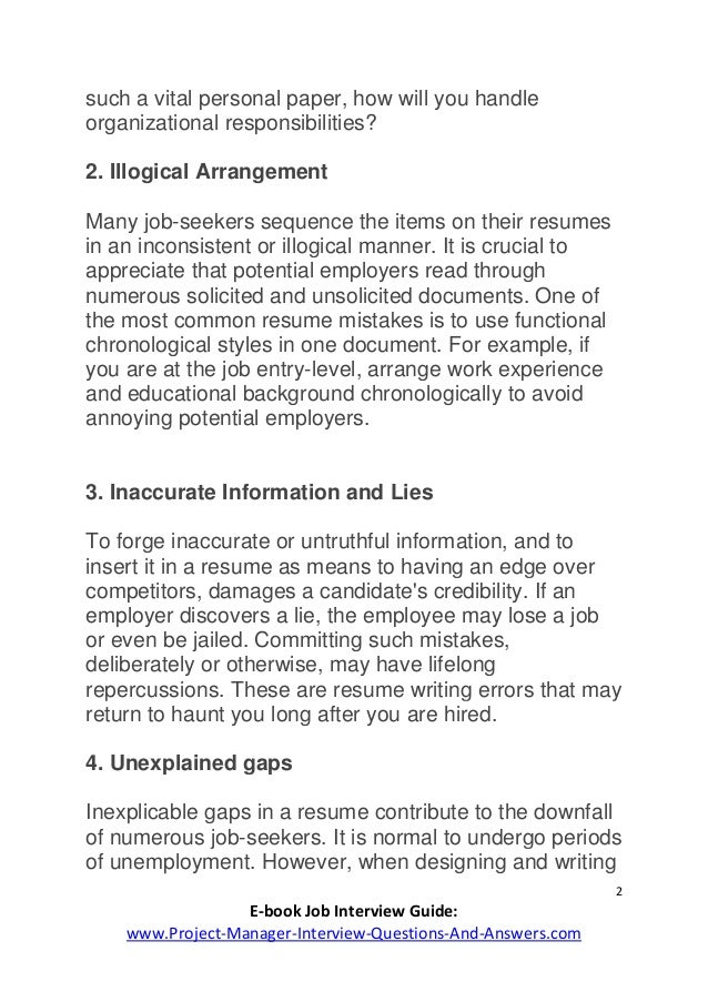 Resume Mistakes To Avoid  WwwProjectManagerInterviewQuestions