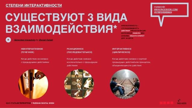 КАК СТАТЬ ИНТЕРВЕРТОМ 7 RUSSIAN DIGITAL WEEKСУЩЕСТВУЮТ 3 ВИДАВЗАИМОДЕЙСТВИЯ*СТЕПЕНИ ИНТЕРАКТИВНОСТИНЕИНТЕРАКТИВНОЕ(ТОЧЕЧНО...