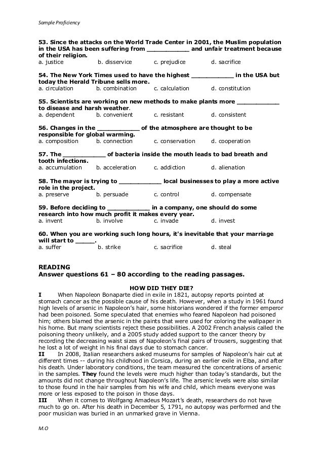 7 Sample Proficiency Test