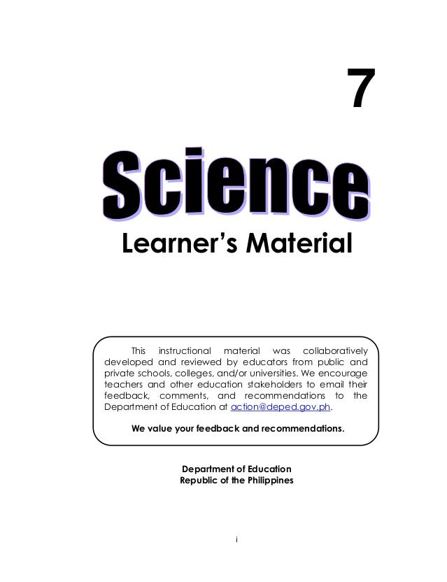 i Learner's Material Department of Education Republic of the Philippines 7 This instructional material was collaboratively...