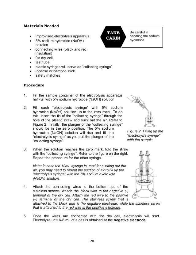28 Be careful in handling the sodium hydroxide. TAKE CARE! Materials Needed  improvised electrolysis apparatus  5% sodiu...