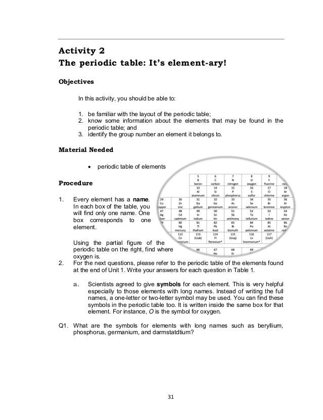 31 Activity 2 The periodic table: It's element-ary! Objectives In this activity, you should be able to: 1. be familiar wit...