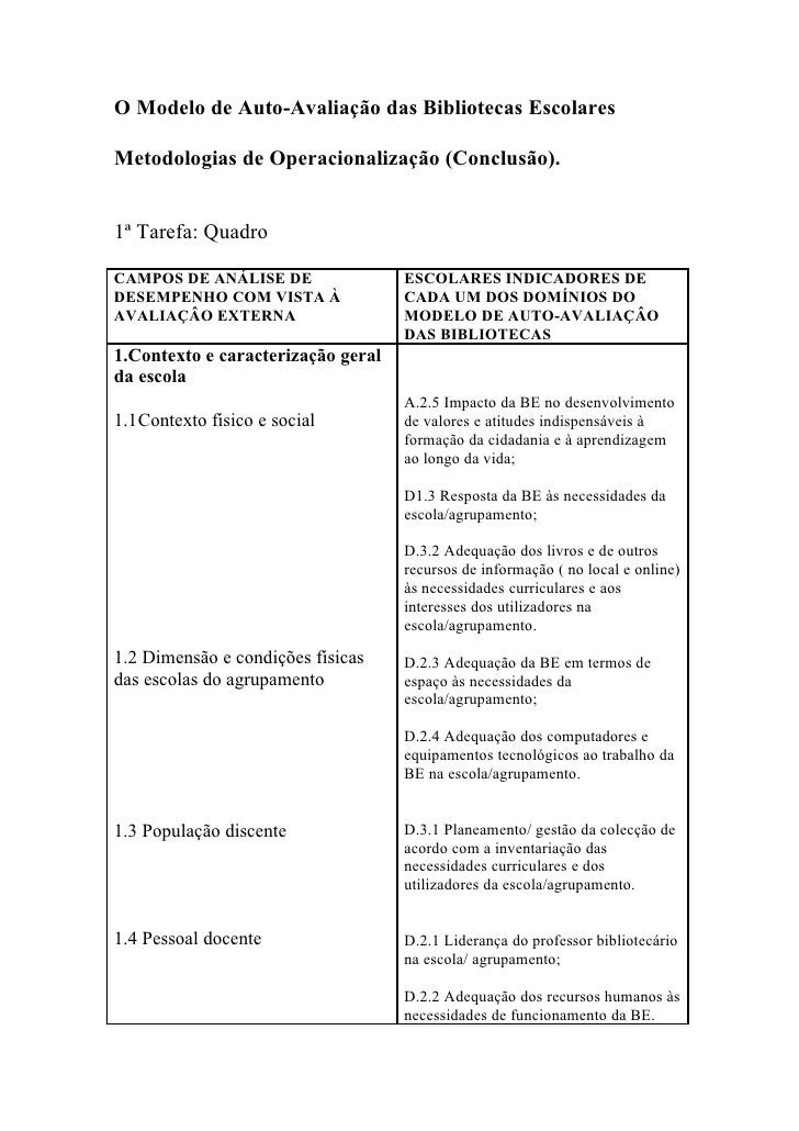 O Modelo de Auto-Avaliação das Bibliotecas Escolares  Metodologias de Operacionalização (Conclusão).   1ª Tarefa: Quadro  ...