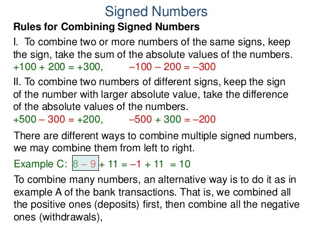 how to write a signed number
