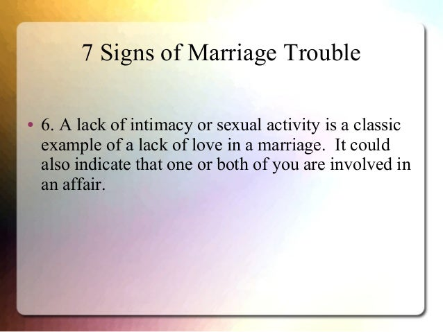 Marriage in trouble no sex