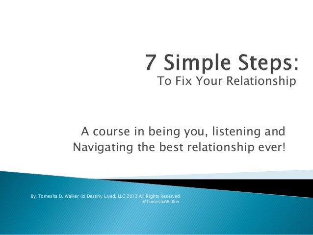 A course in being you, listening and Navigating the best relationship ever! To Fix Your Relationship By: Tomesha D. Walker...