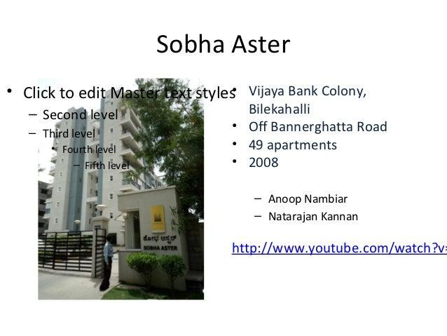 Sobha Aster                                 •• Click to edit Master text styles Vijaya Bank Colony,   – Second level      ...