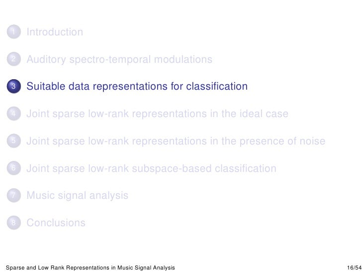 Sparse And Low Rank Representations In Music Signal Analysis