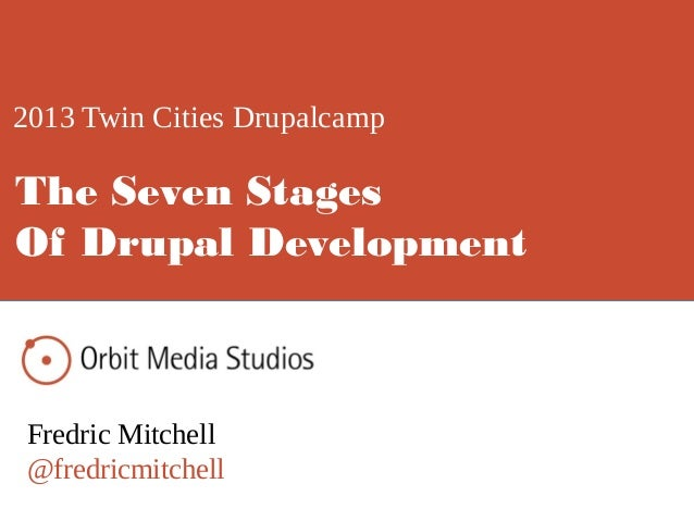 2013 Twin Cities Drupalcamp Fredric Mitchell @fredricmitchell The Seven Stages Of Drupal Development