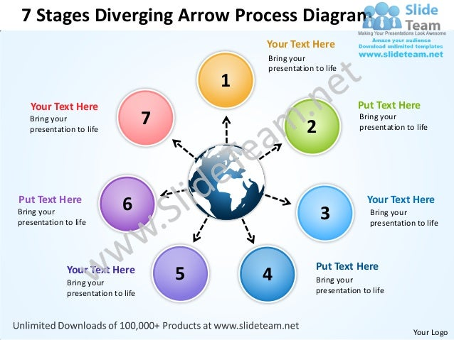 7 Stages Diverging Arrow Process Diagram                                                 Your Text Here                   ...