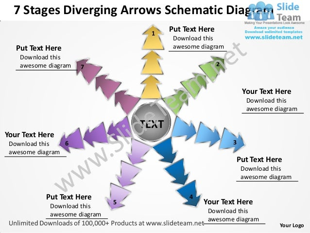 7 Stages Diverging Arrows Schematic Diagram                                   1                                         Pu...