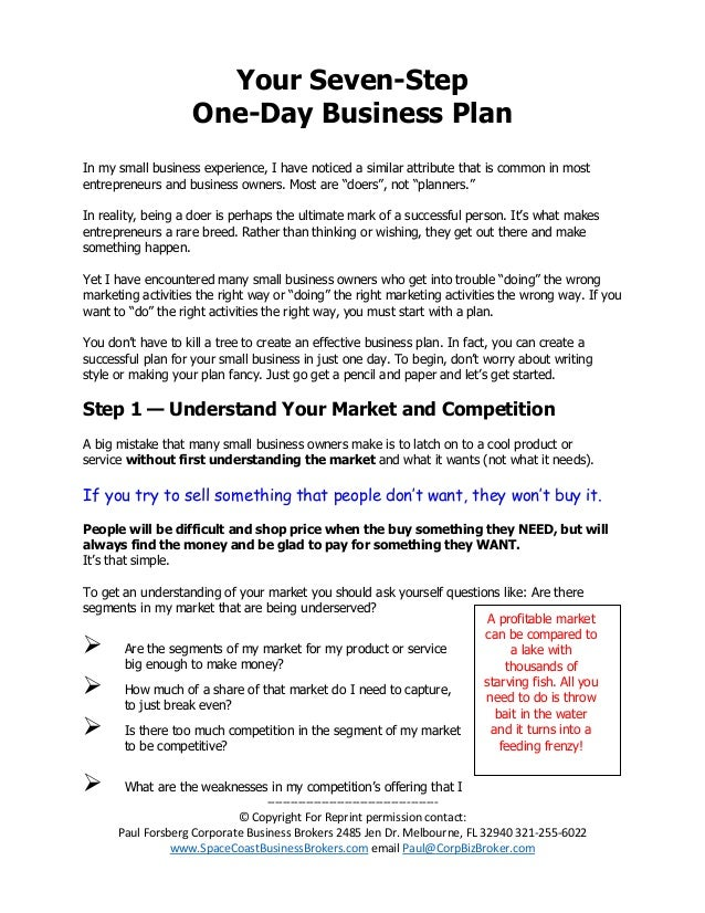 Business plan for taking over an existing business