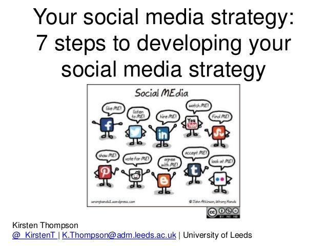 Your social media strategy: 7 steps to developing your social media strategy Kirsten Thompson @_KirstenT | K.Thompson@adm....