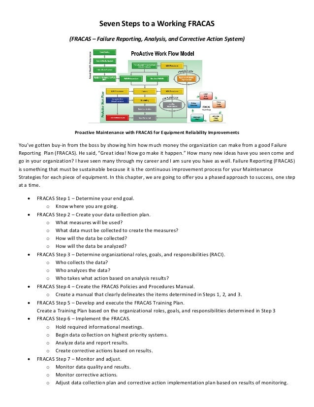 Steps To A Working Failure Reporting System FRACAS - Fracas report template