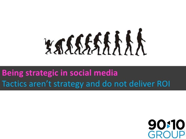 Being strategic in social media <br />Tactics aren't strategy and do not deliver ROI<br />