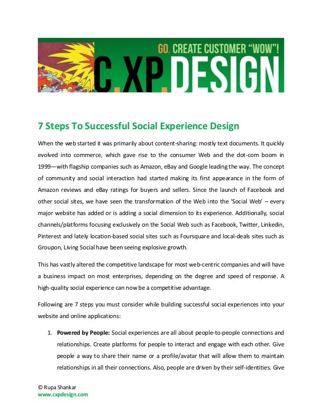 7 Steps To Successful Social Experience DesignWhen the web started it was primarily about content-sharing: mostly text doc...