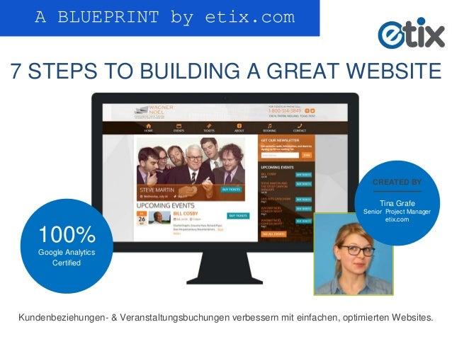 A BLUEPRINT by etix.com 7 STEPS TO BUILDING A GREAT WEBSITE Kundenbeziehungen- & Veranstaltungsbuchungen verbessern mit ei...