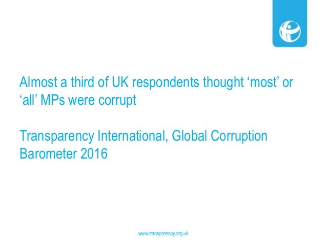 Almost a third of UK respondents thought 'most' or 'all' MPs were corrupt Transparency International, Global Corruption Ba...