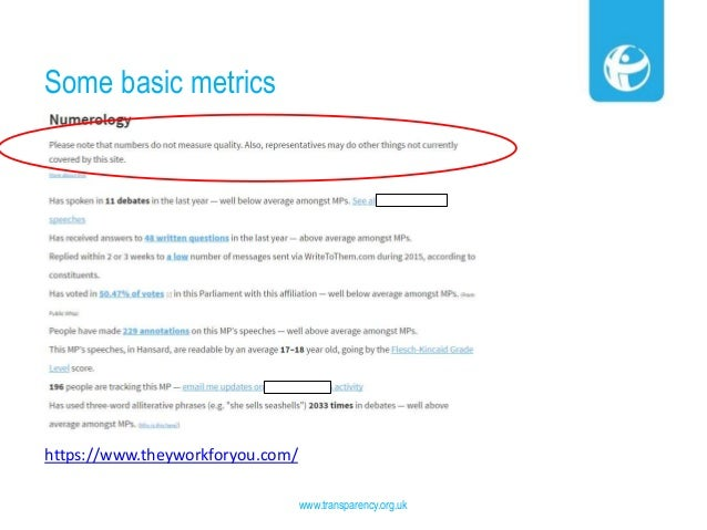 Some basic metrics www.transparency.org.uk https://www.theyworkforyou.com/